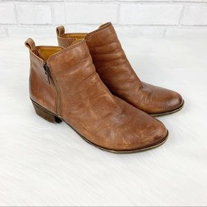 Lucky Brand Distressed Toffee Basel Booties 7.5 M